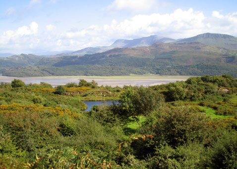 view across the bay to Snowdonia
